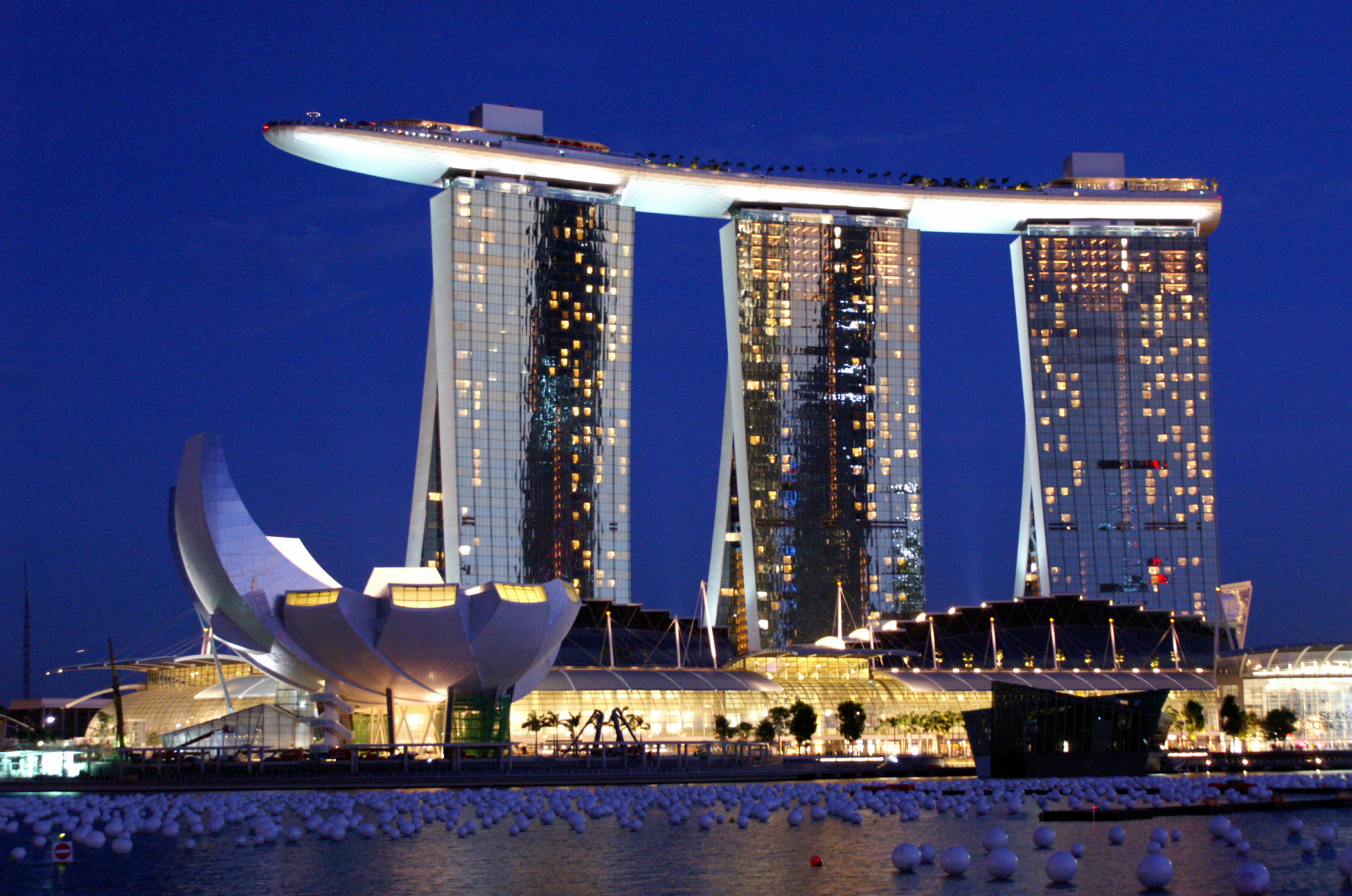 Marina Bay Sands Hotel Skypark Singapore from Waterfront Esplanade